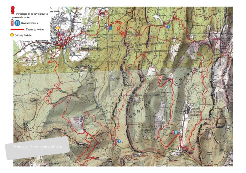 Parcours trail des 3 couvents 46 km