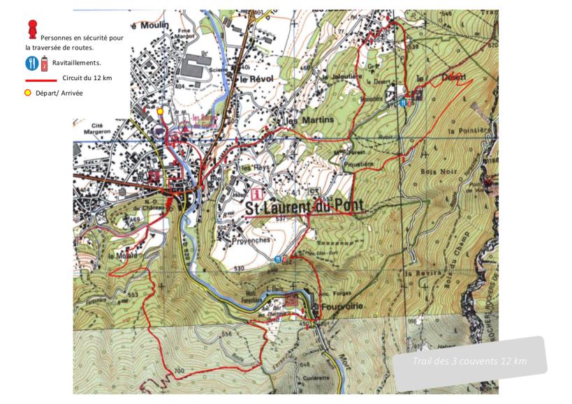 Pparcours trail des 3 couvents 12 km 2018